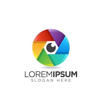 Logo d'oeil d'objectif coloré d'appareil photo