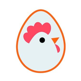 Logo d'oeuf sous la forme d'un poulet. dessin vectoriel.