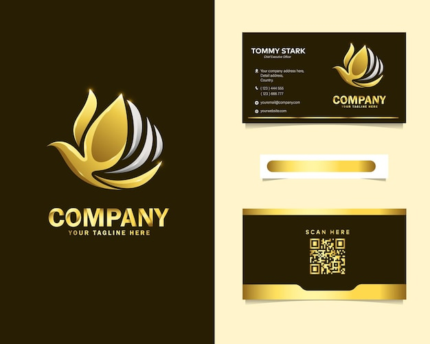 Logo d'oiseau abstrait de luxe avec modèle de carte de visite de papeterie