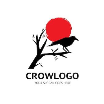 Logo d'oiseau animal corbeau