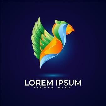 Logo d'oiseau avec une belle couleur dégradée