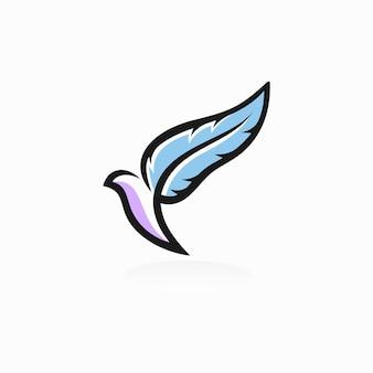 Logo d'oiseau avec le concept de plume