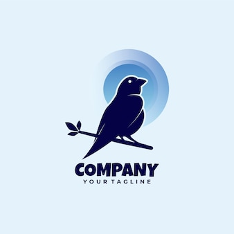 Logo d'oiseau dans le style léger d'arbre