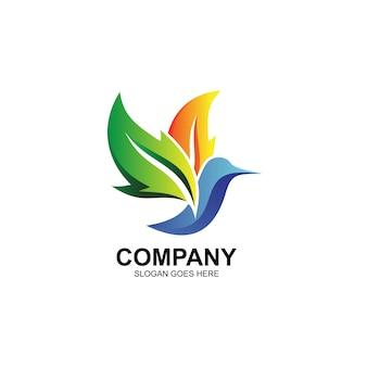 Logo oiseau et feuilles