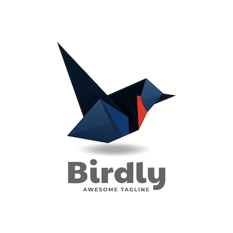Logo oiseau low poly style dégradé