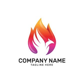 Logo de l'oiseau de phoenix de feu