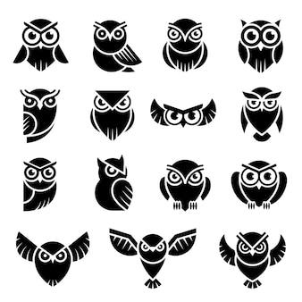 Logo d'oiseau. symboles de connaissance de hibou sauvage vector illustration graphique moderne stylisée. logo de prédateur d'identité, silhouette de hibou sauvage