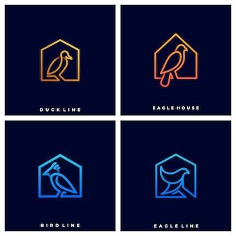 Logo oiseaux sur maisons
