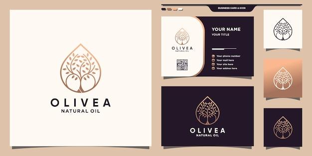 Logo d'olivier et icône de goutte d'eau avec style d'art au trait et conception de carte de visite vecteur premium