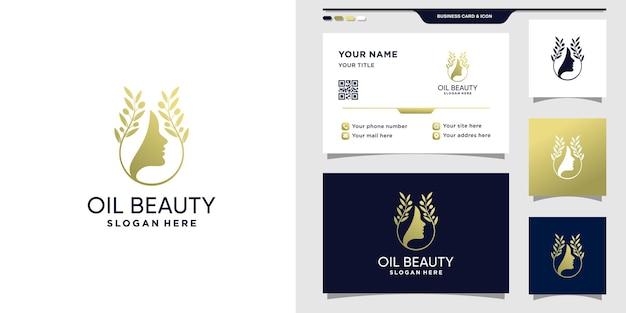 Logo d'olivier avec visage de femme. conception de logo de beauté à l'huile et de carte de visite vecteur premium
