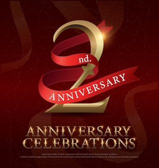 Logo d'or de célébration d'anniversaire 2ème année avec ruban rouge