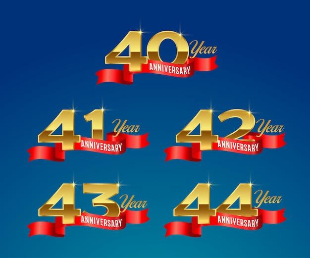 Logo or de célébration du 40e anniversaire avec ruban