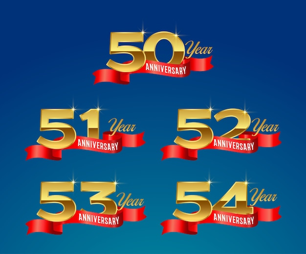 Logo or de célébration du 50e anniversaire avec ruban