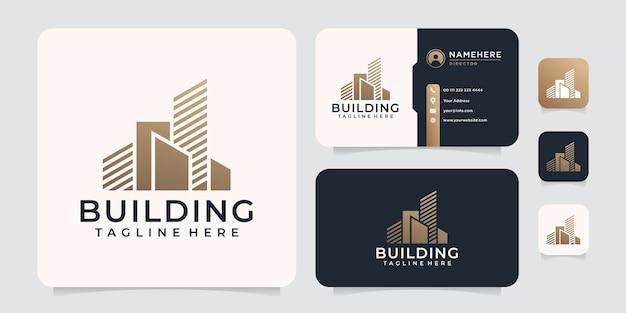 Logo d'or créatif d'architecture de bâtiment