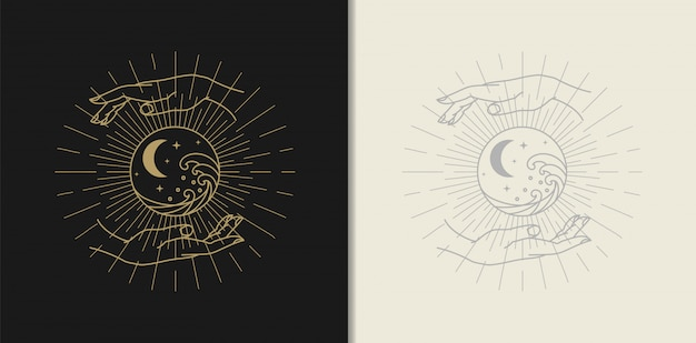 Logo d'or de lune, d'étoile, de vague et de main, lecteur de tarot de guidage spirituel design dégradé coloré illustration.