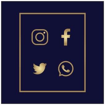 Logo or luxe affaires web classique modèle carte invitation fond d'écran créatif ensemble icône entreprise