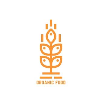 Logo orange simple d'aliments biologiques. concept de brasserie, identité visuelle inhabituelle, végétarien, repas cru, mûr, régime, nature. illustration vectorielle de conception graphique de marque moderne de style plat sur fond blanc