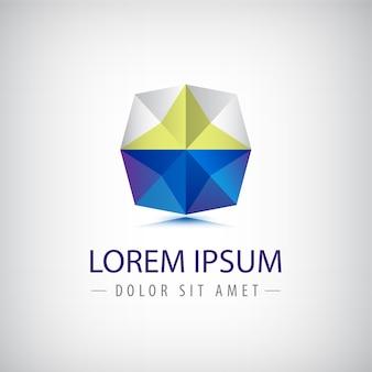 Logo origami géométrique abstrait polygone