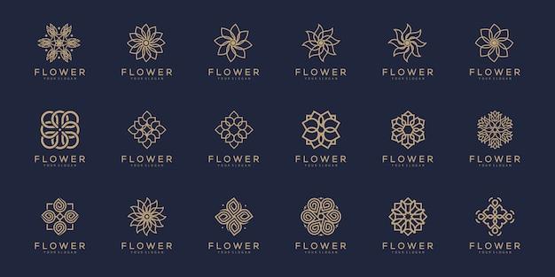 Logo d'ornement floral et jeu d'icônes.