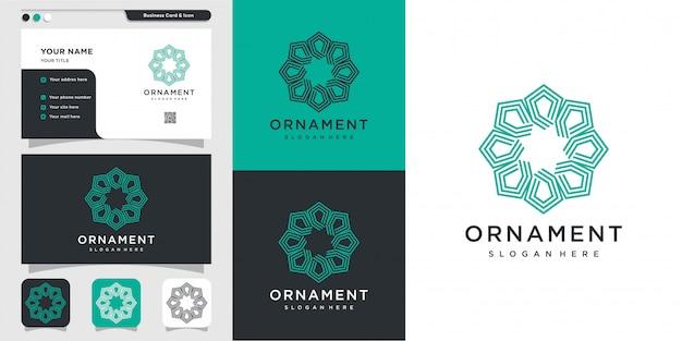 Logo D'ornement Avec Style D'art En Ligne Et Conception De Cartes De Visite, Luxe, Abstrait, Beauté, Icône Premium Vecteur Premium