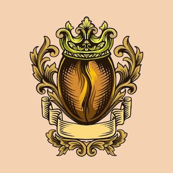Logo ornemental de café roi de luxe