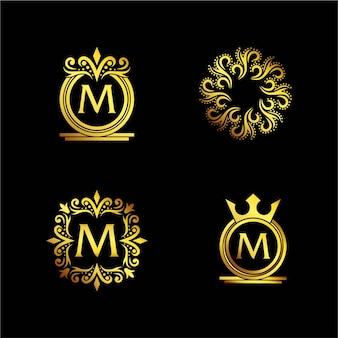 Logo ornemental élégant doré