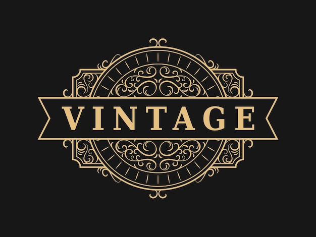 Logo ornemental vintage étiquette de luxe antique