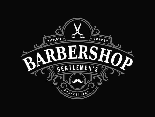 Logo ornemental vintage de salon de coiffure