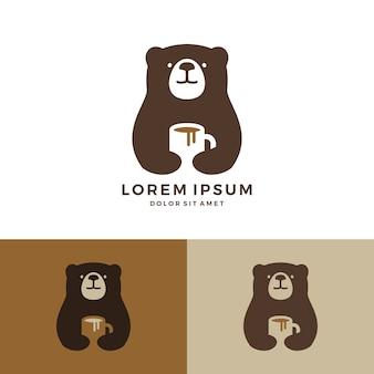 Logo d'ours de café tenant le logo de tasse