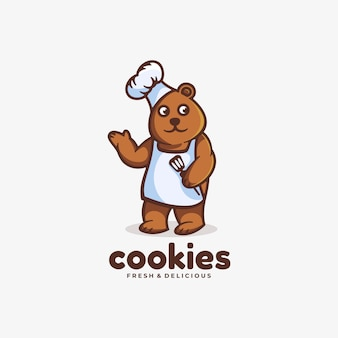 Logo ours cuisine style mascotte simple.