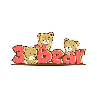 Logo ours mignon dessin animé ludique amusant rose brun