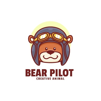 Logo ours pilote mascotte cartoon style