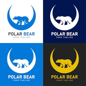 Logo ours polaire avec croissant de lune