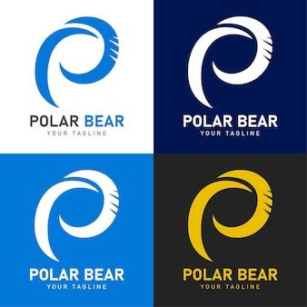 Logo ours polaire avec lettre p et rayure ours
