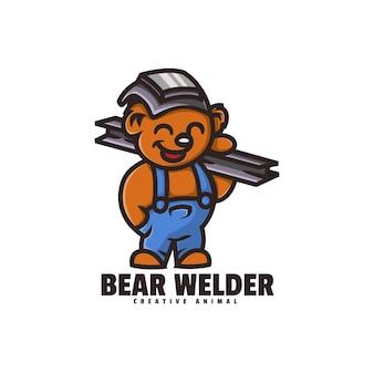 Logo ours soudeur mascotte cartoon style