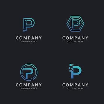 Logo p initial avec éléments technologiques de couleur bleue