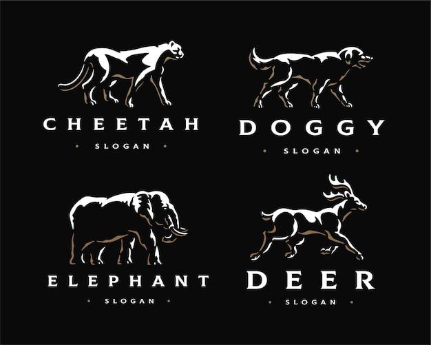 Logo de pack élégant animal