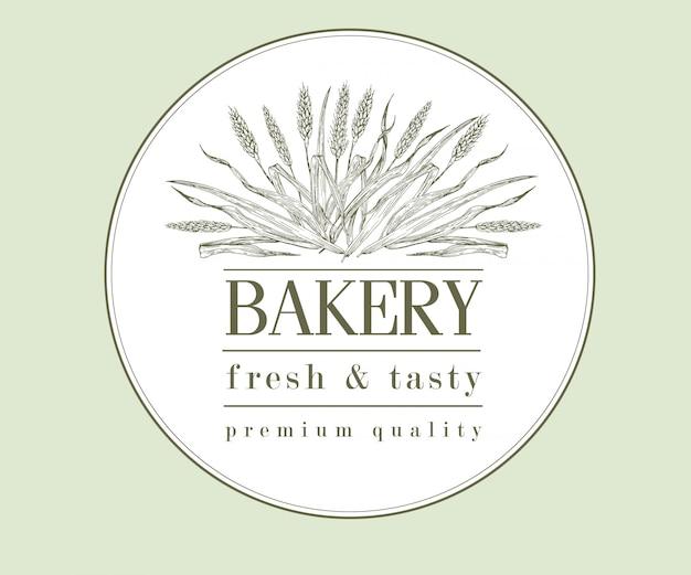 Logo de pain ou de bière rétro de boulangerie avec du blé, vintage