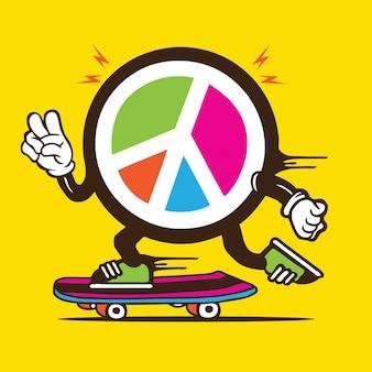 Logo de paix signe personnage de skateboard