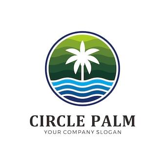 Logo de palmier cercle de couleur verte et bleue