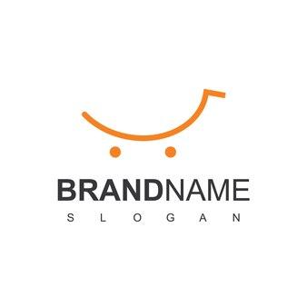 Logo de panier de magasin avec le symbole de sourire