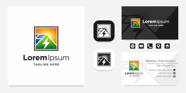 Logo de panneaux solaires avec conception de carte de visite