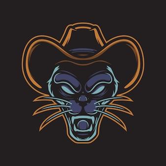 Logo de panthère de cow-boy