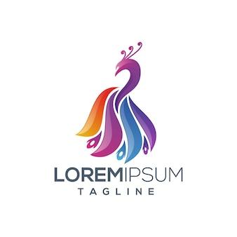 Logo de paon abstrait coloré