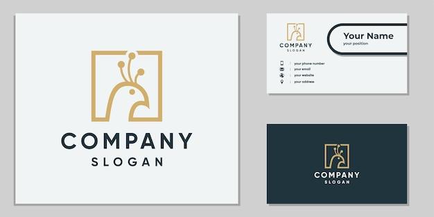Logo de paon d'art en ligne pour l'entreprise