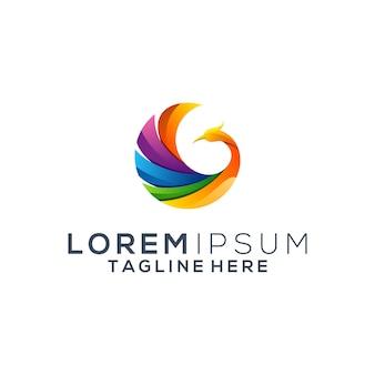 Logo de paon coloré