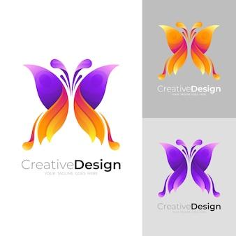 Logo papillon abstrait avec icône colorée 3d