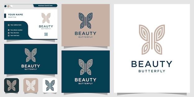 Logo de papillon de beauté avec style de dessin au trait et conception de carte de visite vecteur premium