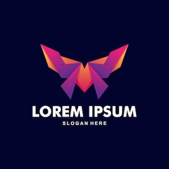 Logo de papillon coloré premium