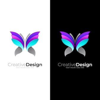 Logo Papillon Avec Coloré Vecteur Premium